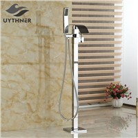 Newly Waterfall Bathtub Mixer Faucet Tap w/ ABS Hand Shower Chrome Shower Faucet Floor Standing One Handle
