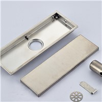 Luxury Square Bathroom Floor Drain Stainless Steel Shower Drain Grate Waste Nickel Brushed