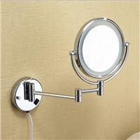Chrome Wall Mounted 8 inch Brass one side 3X Magnifying Mirror LED Light Folding Makeup Mirror Cosmetic Mirror Lady Gift