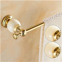 Luxury Golden Brass Wall Mounted Bathroom Towel Rack Holder Marble Hangers Single Towel Bar Hanger