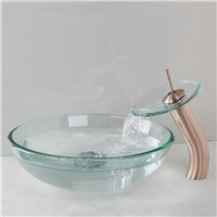 Basin Faucet Contemporary Sumptuous Delicate Sink Glass Round Shampoo Sinks Hot Cold Waterfall Excellent Sink Basin Faucet