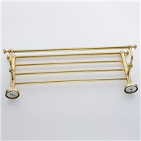 Towel Racks Wall Mounted Brass Bath Towel Rack Golden Polished Bathroom Shelf Towel Rod Towel Hooks Bathroom Accessories XE3390