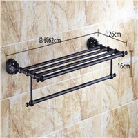 Wholesale And Retail Oil Rubbed Bronze Crystal Mosaic Wall Mounted Shelf Towel Rack Holder Clothes Shelf Single Towel Rack