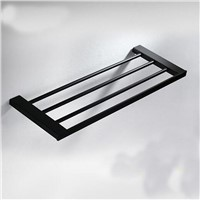 Wholesale And Retail Oil Rubbed Bronze Shelf Towel Rack Holder Clothes Shelf Single Wall Mounted Black Towel Rack