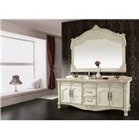 Solid Wood Bathroom Cabinet, Free Standing Storage Sink Vanity with Mirror Modern Bathroom Vanity