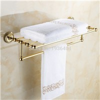 Luxury Euro Design Golden Finish Antique Brass Bathroom Towel Racks Romatic Double Towel Rack Wall Mounted Towel Shelf TR1003