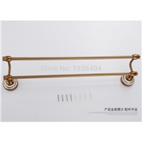 Space Aluminum Antique Romantic Bronze Brush with Porcelain Bathroom Double Towel Bar Towel Rack Wall Mounted Towel Shelf TR1016