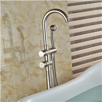 Brushed Nickel Free Standing Bathtub Mixer Faucet Dual Handles Bathroom Tub Faucet with Handshower Floor Mount