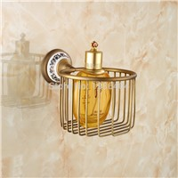 Bathroom Accessories Antique Brass Toilet Paper Holder with Porcelain Wall Mounted Bathroom Basket PH211