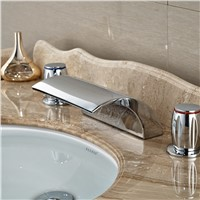 "Wholesale And Retail Chrome Finish 8"" Wide Waterfall Bathroom Basin Faucet Deck Mount Brass Valve Tub Faucet 3PCS Mixer Tap"