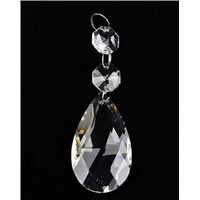 10pcs/lot Diamond Cut Clear Teardrop Crystal with Double Octogon Chandelier Prisms Lamp Parts Hanging Wedding Decoration