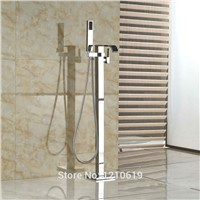 Uythner Newly Floor Standing Shower Tub Faucet w/ Hand Sprayer Chrome Bathtub Mixer Faucet Single Handle