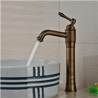 Antique Brass Single Handle Bathroom Basin Mixer Tap One Hole Sink Faucet