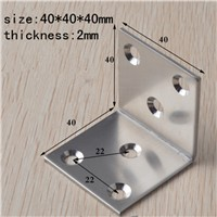 40MM stainless steel Quartet Corner Furniture Hardware Accessories Right Angle Connecting piece angle iron Stand Fastener  10pcs