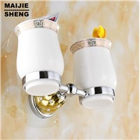 Home decoration washroom toothbrush holder chrome+gold European style copper tumbler&cup holder wall mount bath product