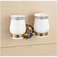 Luxury Antique Brass Tooth Brushed Set Double Ceramic Cups Bath Tooth Holder