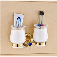 Luxury Golden Polish Tooth Brush Holder Double Ceramic Cups Wall Mounted