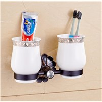 Free Postage Oil Rubbed Bronze Tooth Brush Holder Double Ceramic Cups + Holder