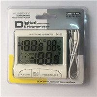 HOT!!! Mini Weather Station LCD Digital Indoor Outdoor Thermometer Hygrometer Meter With Clock And Temperature Sensor Probe