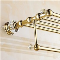 Golden crystal bathroom towel rack bathroom shelf towel holder Double towel rack holder bathroom accessories