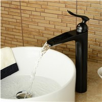 Bathroom tall ORB faucet black basin faucet waterfall sink mixer nickel brushed water faucet brushed bathroom faucet high tap