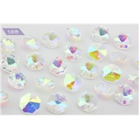 500pcs AB 14mm Crystal Beads in 2 Holes For Chandelier Glass Lighting Prism Drop Wedding Parts