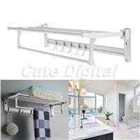 Wholesale Aluminum Wall-Mounted Bathroom Towel Shelf Holders Bathroom Towel Rack +Towel Bar+Row Robe Hooks Bathroom Accessories