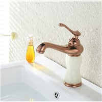 2016 New Arrival Marble Stone Rose Golden Plated Brass Material Marble White Stone Basin Mixer Taps Deck Mounted Faucets M1019