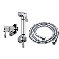 Round Muslim Shataff Bidet Douche Shower Toilet Spray Kit Head Holder Anti Twist Hose Isolating Valve Wall Bracket Holder