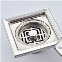Luxury Stainless Steel Floor Drain 10x10cm Suquare Grate Wast Bath Shower Drain