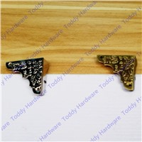 8pcs 37mm Decorative Antique Brass Jewelry Chest Wine Gift Box Wood Table Picture FrameCorner Brackets +Screws