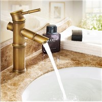 Luxury high quality bronze finished cold and hot bamboo single lever bathroom sink faucet basin faucet with two 50 cm hoses