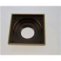 Brass Square Shower Floor Drain with Removable Strainer,4*4""
