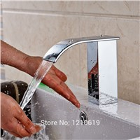 Uythner Newly Waterfall Automatic Sensor Basin Faucet Chrome Plate Bathroom Touchless Sink Faucet Cold Water Tap