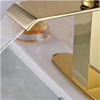 High-grade Bathroom Sink Mixer Faucet with Hole Cover Hot & Cold Water Taps Deck Mount Golden