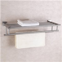 Stainless Steel Bath Towel Rack Bathroom Shelf with Double Towel Bar 60 CM Storage Organizer ,Brushed Finish
