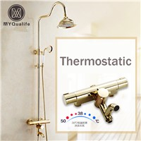Newly Golden Thermostatic Shower Faucet Set Dual Handle Temperature Control Shower Mixers with Hand Shower + Tub Spout
