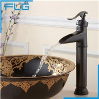 China Sanitary Ware Bathroom Black Tall Deck Mounted Waterfall Mixer, Copper Oil Rubbed Bronze Retro Faucet