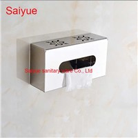 Hollow Square Bathroom salle de bain Accessories 304 Stainless Steel Toilet Paper Holder WC Cover  Roll Tissue Rack Shelf