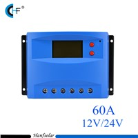 2pcs/lot  Big Power 60A 12V/24V PWM Solar Charge Controller Big LCD Display CK60DU Solar Regulator Quality Warranty