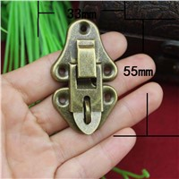 20Pcs 55 * 33 Antique Wooden Box Hasp Lock Buckle Gift Box Hanging Hardware Lock Buckle Black Box KF572