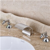 Modern Brass LED Light Basin Faucet Waterfall Dual Handle Mixer Taps Chrome Finished