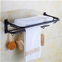 European luxury 100% copper black bronze folding towel rack uropean antique copper bathroom hardware pendant black belt 5 hooks