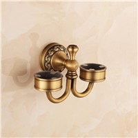 Luxury Antique Solid Brass Bathroom Ceramic Toothbrush Cup European Bronze Wall Mounted Double Cup Holder Toilet Accessories Set