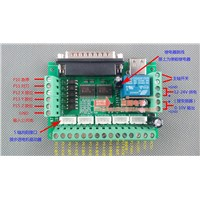 5 Axis CNC Interface Adapter Breakout Board For Stepper Motor Driver Mach3 + USB Cable, mach3 CNC controller