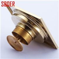 Gold chrome  Brass Carved Flower Art Bathroom Accessory Floor Drains washing machine drainer  Waste Grate100mm*100mm