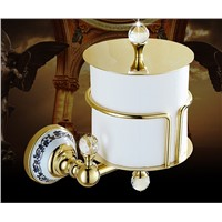 High Quality Gold toilet paper holder Brass tissue box bathroom hardware luxury paper roll holder