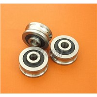 50pcs/lot  SG15 2RS U Groove pulley ball bearings SG15RS  5*17*8 mm Track guide roller bearing 5x17x8 ( double row balls) ABEC-5