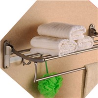Foldable Bathroom towel rack holder doubl tier antique brass storage wall shelf with hook bathroom accessories