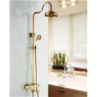 Thermostatic Valve Mixer Antique Brass Shower Faucet Tub Spout Hand Shower Unit Mixer Tap